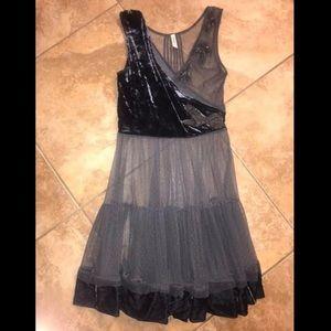 Free People Vintage Velvet Mesh Wrap Dress xs boho
